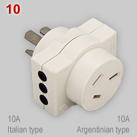 Uruguayan multi-plug for AU and IT type plugs