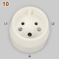 Swiss 15A-500V 2-phase socket
