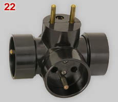 Czechoslovak 3-way multi-plug, earthed