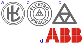 Logos of Kramer & Loebl, Elektro Praga and ABB