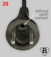 Polish 10A not earthed plug