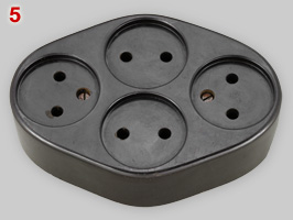 Erich Jaeger Bakelite socket with 4 outlets