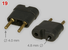 adapter with 4 mm pins for Schuko plugs