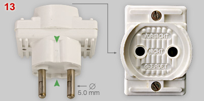 Multi-plug for not eathed plug but fit in Schuko socket