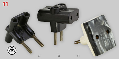 Three examples of Bakelite multi-plugs