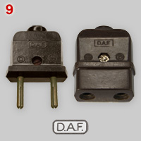 D.A.F. Bakelite, not earthed plug and connector