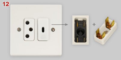 Fused Swiss type socket made by Bticino