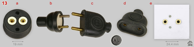 Spanish 2-pin 10A and 20A plugs, connector and sockets