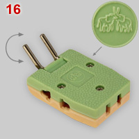 Multi-plug for flat and round pin plugs