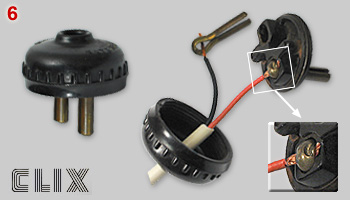Clix system for wire attachment to plug pins