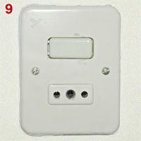 Italian typ 10A socket mounted on wall in Greek house