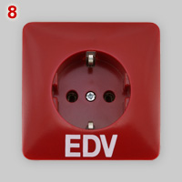 PEHA EDV Schuko socket, red