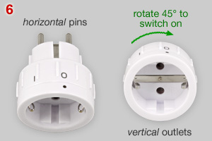 Schuko adapter plug with switch and rotation of outlet