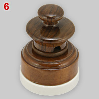 Classic, wooden 3-pin 5A socket and plug